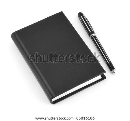 Black notepad and pen on white background with soft shadow