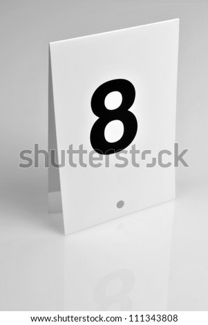 Black number on white background