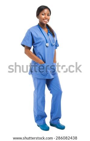 Black nurse isolated on white full length  - stock photo