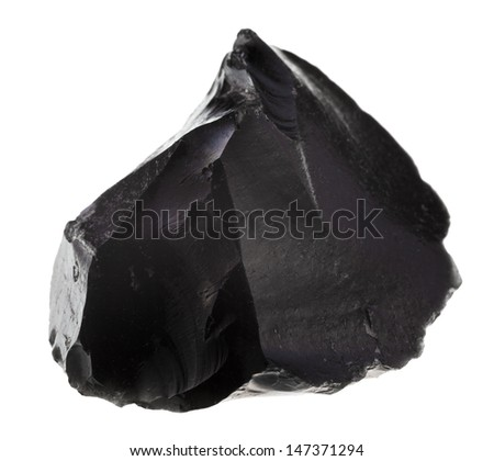 black obsidian mineral isolated on white background - stock photo
