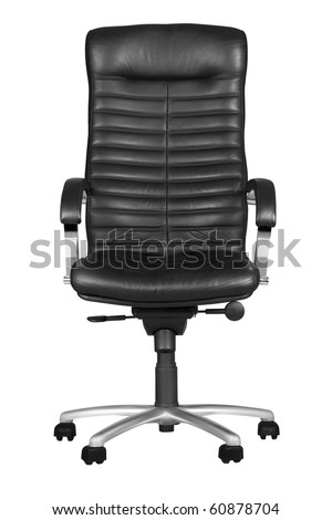 Black office armchair isolated on white background. With Clipping Path - stock photo