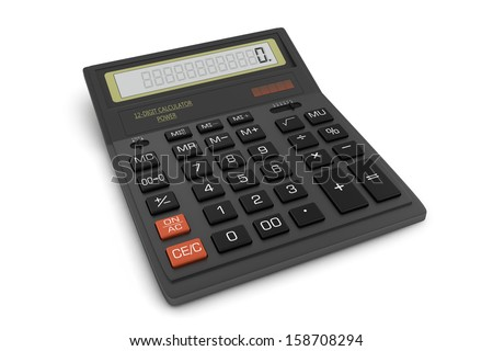 Black office calculator. Isolated on white background - stock photo
