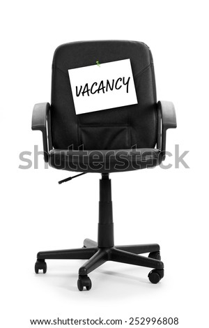 Black office chair with vacancy sign isolated on white - stock photo