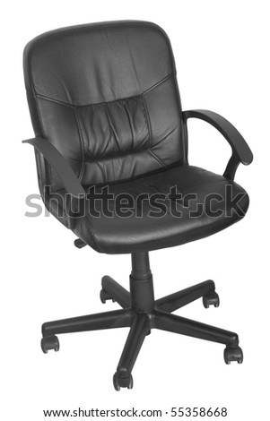 black office chair with wheels on white background - stock photo