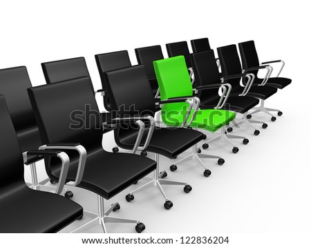 Black office chairs in a row with difference of green chair, isolated on white background.