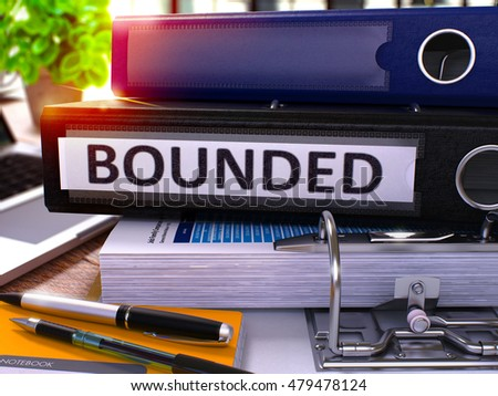 Black Office Folder with Inscription Bounded on Office Desktop with Office Supplies and Modern Laptop. Bounded Business Concept on Blurred Background. Bounded - Toned Image. 3D.