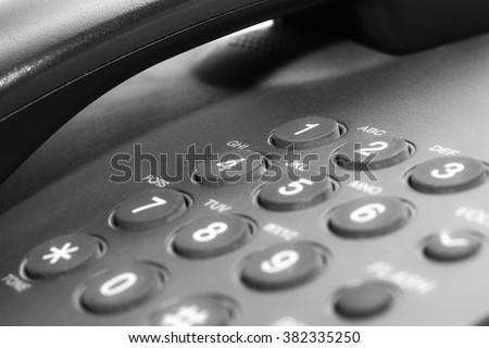 Black office IP Phone isolated on white background - stock photo
