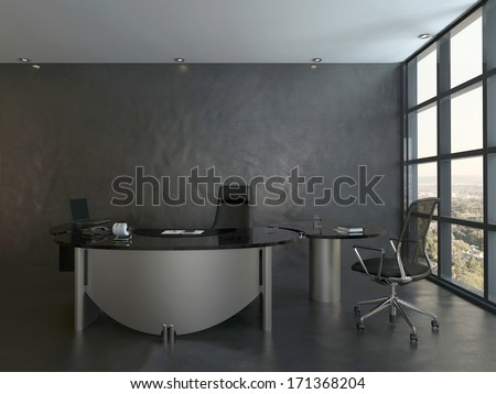 Black office room interior with modern desk - stock photo