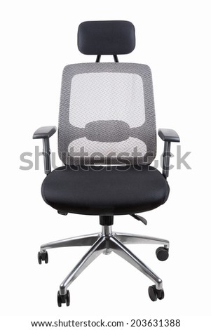 black office swivel chair isolated on white with clipping path  - stock photo