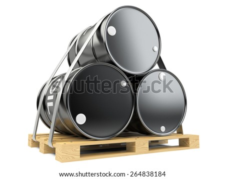 Black oil barrels on wooden pallet on white background. - stock photo
