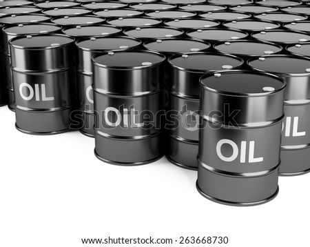black oil barrelsisolated on a white background. - stock photo