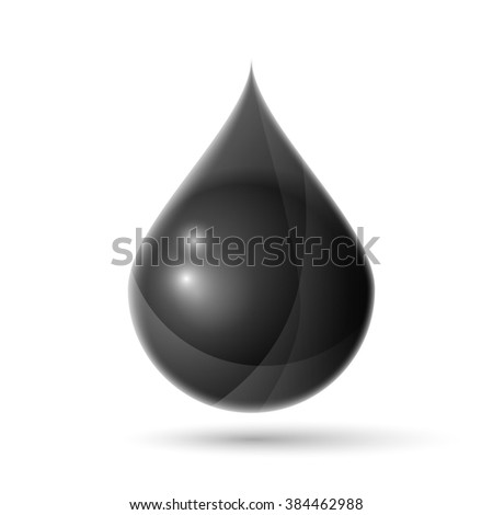 Black oil droplet isolated on white realistic illustration