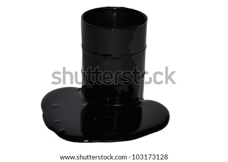 Black oil leaking from a barrel