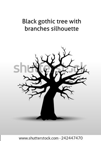 Black old gothic tree with branches silhouette - stock photo