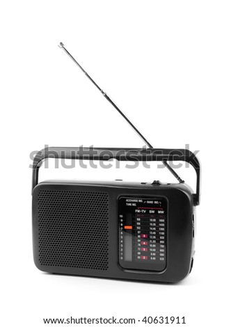 black old radio on a white background.