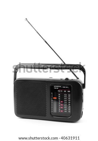 black old radio on a white background. - stock photo