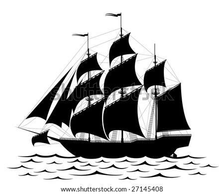 Black old ship and waves isolated on white - rastered image. Vector format in EPS is also available in my gallery. - stock photo