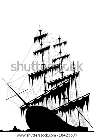 Black old ship at the sea ground isolated on white - raster image. Vector format in EPS is also available in my gallery. - stock photo