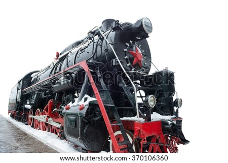 Black old soviet train locomotive isolated on white background - stock photo