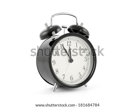 Black old style alarm clock with clipping path - stock photo