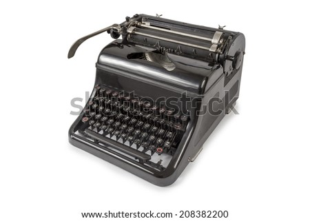 Black old Typewriter isolated on white background