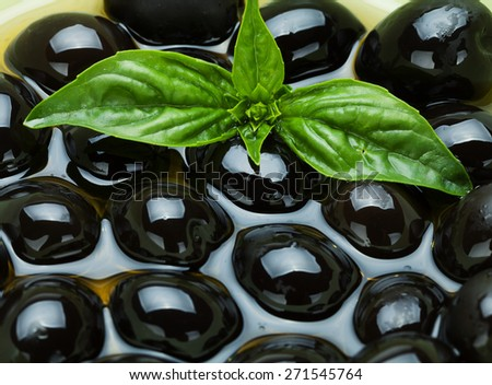 Black olives in olive oil and basil   - stock photo