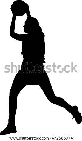 Black on Silhouette of girls ladies netball player catching throwing ball