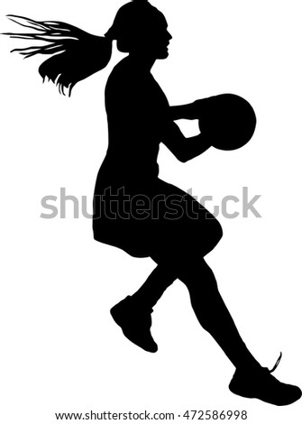 Black on silhouette of girls ladies netball player running with ball