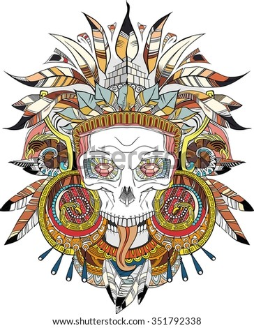 black on white Aztec indian Skull, raster copy - stock photo
