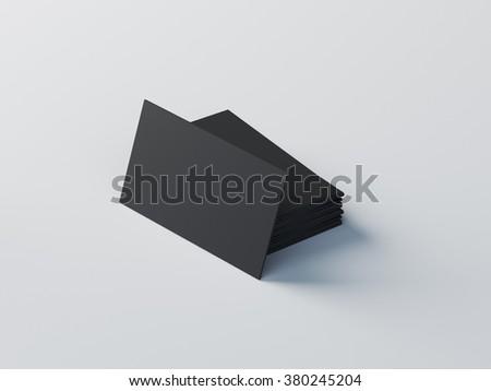 black on white business cards mockup - stock photo
