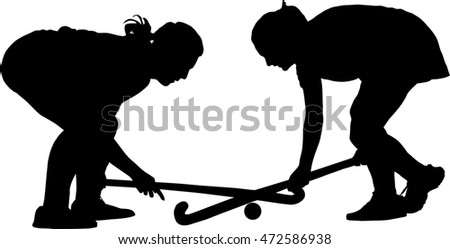Black on white silhouette of girl ladies hockey players locked in battle for ball
