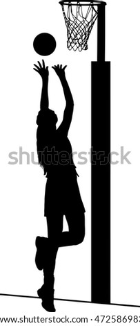 Black on white silhouette of girls ladies netball player shooting for goal