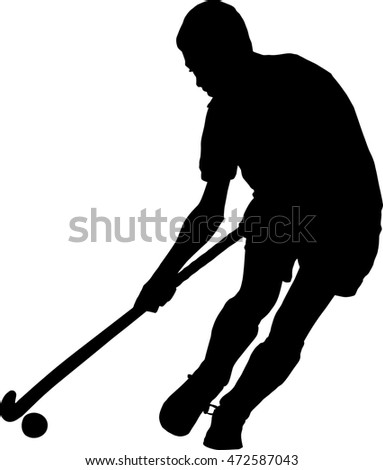 Black on white silhouette of school boy hockey player running with ball
