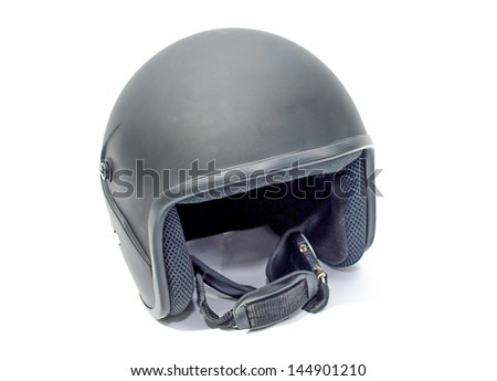 Black open face motorcycle helmet on white background.