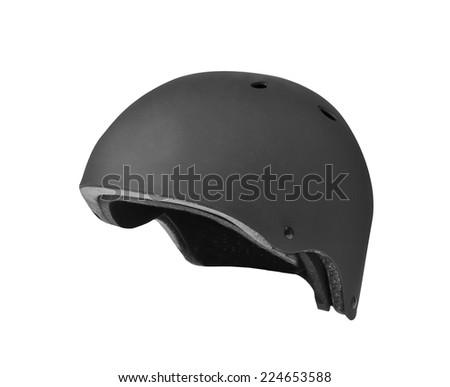 Black open face motorcycle helmet on white background.  - stock photo