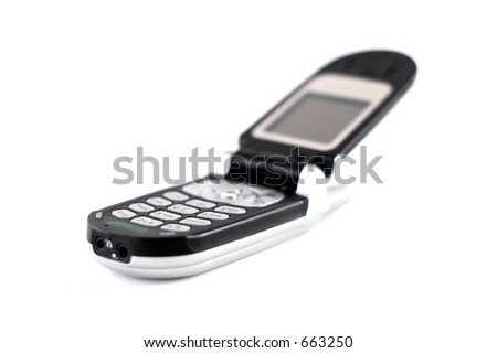 Black open mobile phone
