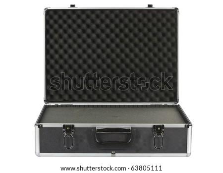 Black open padded aluminum briefcase isolated on white - stock photo