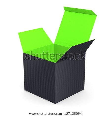 Black opened box with green inside