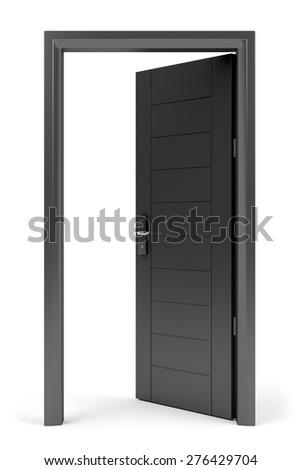 Black opened door with electronic keycard lock on white background - stock photo