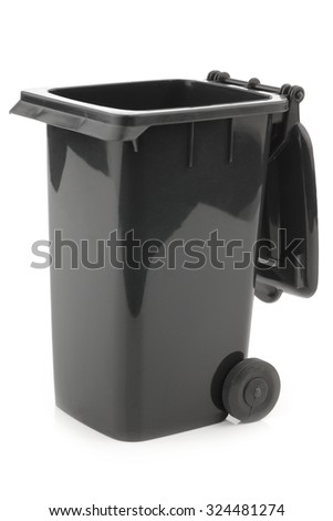 black opened garbage can isolated on white background - stock photo