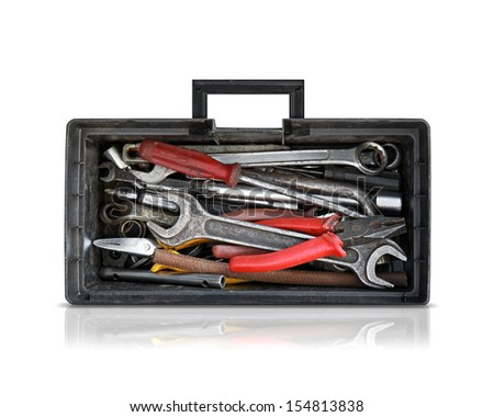 Black opened toolbox isolated on white background with soft shadow and reflection