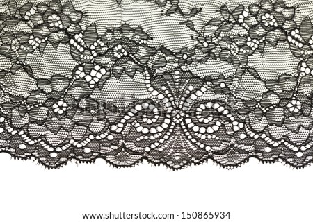 Black openwork lace isolated on white background. - stock photo
