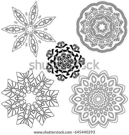 Black Ornament Collection over white background