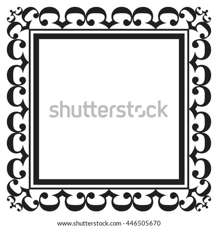 Black ornate square blank frame for pictures