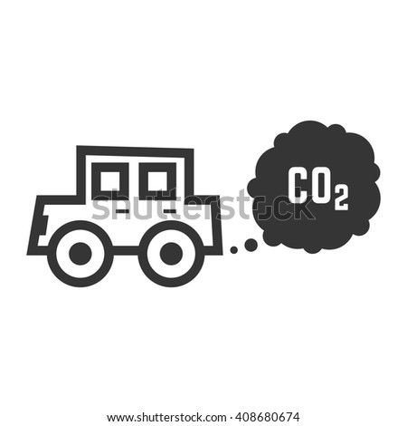 black outline car emits carbon dioxide. concept of smog pollutant, damage, contamination, garbage, combustion products. isolated on white background. flat style trend modern design illustration - stock photo