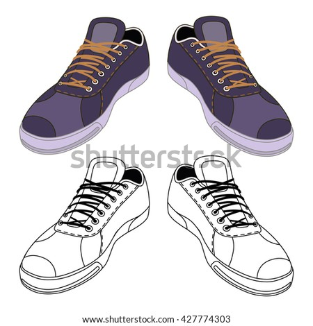 Black outlined & colored sneakers shoes pair front view