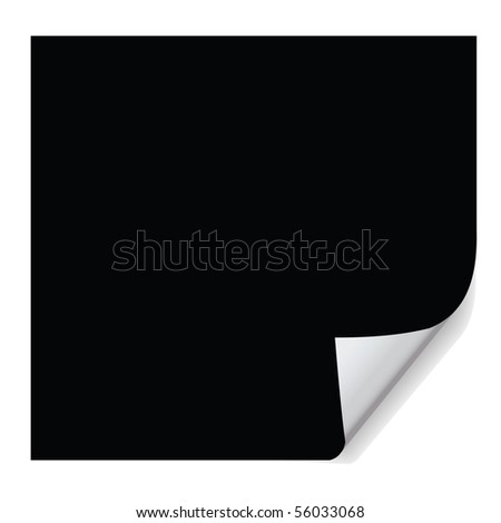 black page curl effect, for formal and graceful layout. - stock photo