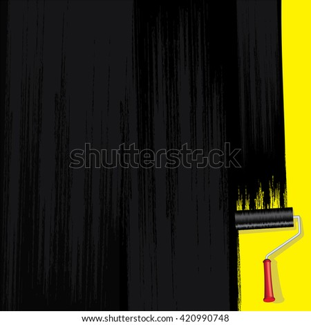 Black Paint on Wall - stock photo
