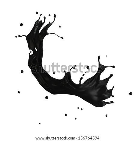 Black paint splash, isolated on white background. - stock photo
