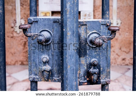 Black painted iron gate handles leading to a courtyard.